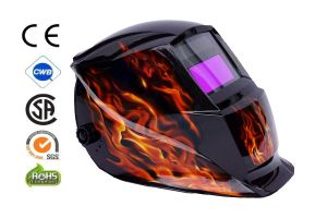 Automatic Welding Masks - color Black Metallic with application Fire