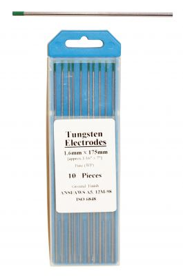 Swedish Tungsten electrode - GREEN color, ø 1,6 mm, length 175 mm.