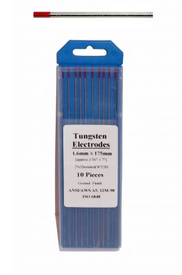 Swedish Tungsten electrode - RED color, ø 1,6 mm, length 175 mm.