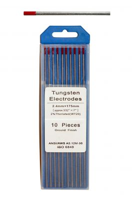 Swedish Tungsten electrode - RED color, ø 2,4 mm, length 175 mm.