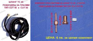 Set of three parts / nozzle, electrode and diffuser / for plasma cutting machine VITO-CUT40